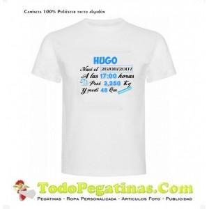 Camiseta Recuerdo Hijo Nombre Fecha Peso Altura