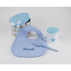 Pack A Comer! Azul Personalizado babero cuchara y taza nombre