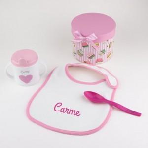 Pack A Comer! Rosa Personalizado babero cuchara y taza nombre