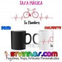 Taza Magica Ciclismo Corazon personalizada con nombre
