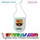 Banderin FC Barcelona para coche personalizado con nombre