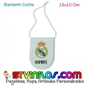 Banderin Real Madrid para coche personalizado con nombre