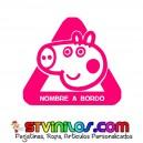 Pegatina Peppa Pig Personalizada Nombre a Bordo