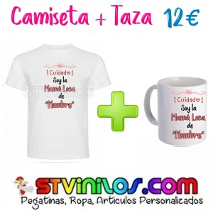 Camiseta + Taza: Cuidado soy la mama loca de nombre personalizado