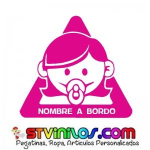 Pegatina Bebe a bordo niña Personalizada Nombre a Bordo