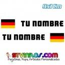 Pegatina Nombre con Bandera Alemania Clasica Rectangular 9 CM