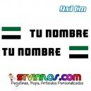 Pegatina Nombre con Bandera Extremadura Clasica Rectangular 9 CM