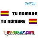 Pegatina Nombre con Bandera España Republicana Rectangular 9 CM