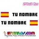 Pegatina nombre con bandera España clasica tipo Rally Rallye