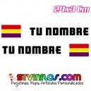 Pegatina nombre con bandera España Republicana clasica tipo Rally Rallye