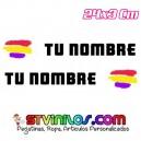 Pegatina nombre con bandera España Republicana Trazos Pincelada tipo Rally Rallye