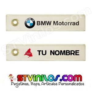 Llavero Tela BMW Motorrad personalizado con nombre y bandera de Madrid