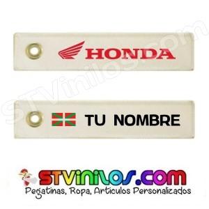Llavero Tela Honda personalizado con nombre y bandera de Euskadi Ikurriña