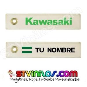 Llavero Tela Kawasaki personalizado con nombre y bandera de Andalucia