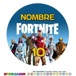 Oblea Fortnite Avengers Vengadores Nexus Personalizada con nombre y edad