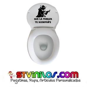 Vinilo Yoda Que la fuerza te acompañe Decorativo WC Cisterna Tapa