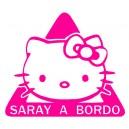 Pegatina A Bordo Hello Kitty Personalizada