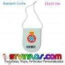 Banderin RCD Espanyol para coche personalizado con nombre
