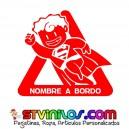 Pegatina Superman Personalizada Nombre a Bordo
