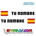 Pegatina Nombre con Bandera España Clasica Rectangular 9 CM