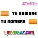 Pegatina nombre con bandera catalunya cataluña tipo Rally Rallye