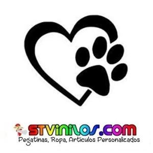 Pegatina Huella Corazon Mascota Animalista Perro Gato