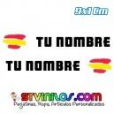 Pegatina Nombre con Bandera España Trazo Pincelada 9 CM